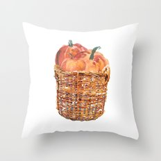 Autumn Basket of Pumpkins Throw Pillow