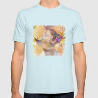 profile woman and flowers Mens Fitted Tee Light Blue SMALL