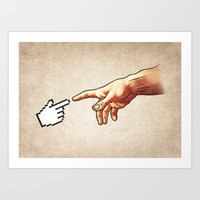 Funny 8bit Nerd & Geek Humor (Creation of Adam Parody) Art Print