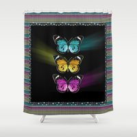 3 Colorful Butterflies Shower Curtain