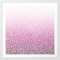 Gradient pink and white swirls zentangle Art Print