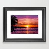Sunset Over The Beach  Framed Art Print