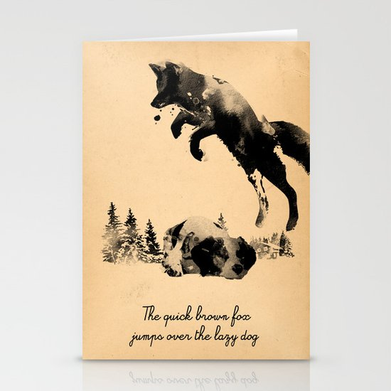 The quick brown fox jumps over the lazy dog Stationery Card