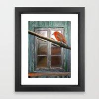 Bird and Window Framed Art Print