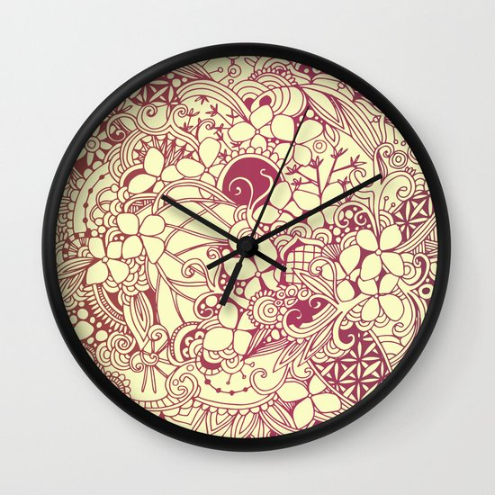 Yellow square, pink floral doodle, zentangle inspired art pattern Wall Clock