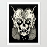 Grinning Skull With Horn… Art Print