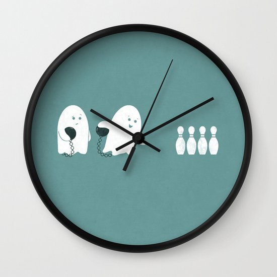 Bowling Ghost Wall Clock
