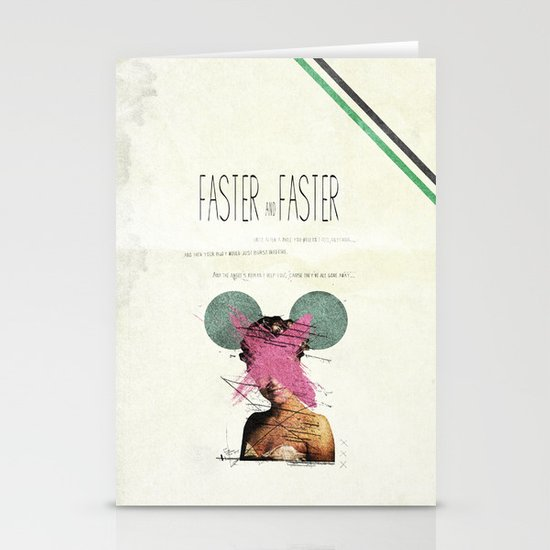 Faster & Faster | Collage Stationery Card