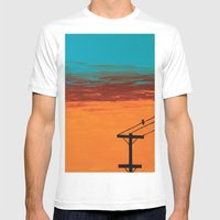 Bird On A Wire Mens Fitted Tee White SMALL