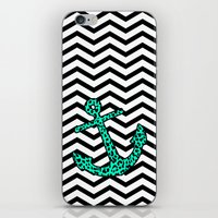Mint Leopard Chevron Anchor iPhone & iPod Skin