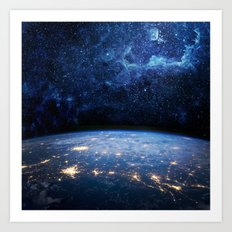 Earth And Galaxy Art Print