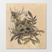 Skull with Weeds. Canvas Print