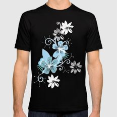 Summer blossom, brown and blue pattern Mens Fitted Tee Black SMALL