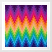 Zig Zag Chevron Pattern G291 Art Print