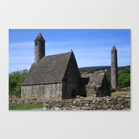 St Kevins Church And Round Tower Canvas Print