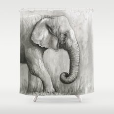 Elephant Watercolor Black and White Animal Painting Shower Curtain