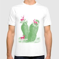 Deer Cactus Mens Fitted Tee White SMALL