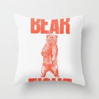Bear Fight Throw Pillow