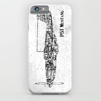 iPhone Cases featuring North American P51 Mustang (black) by One Curious Chip