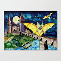 Halloween Landscape with Bats and Transylvanian Castle Canvas Print