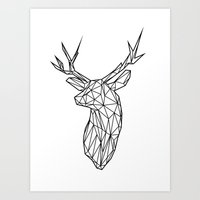Black Line Faceted Stag … Art Print