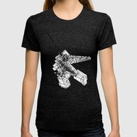 GIANTROBO Womens Fitted Tee Tri-Black SMALL