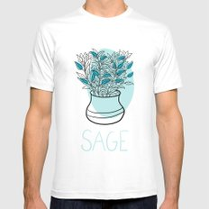 Sage SMALL Mens Fitted Tee White