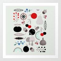 Mushroom Berries Nuts An… Art Print
