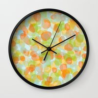 Pebbles Orange Wall Clock