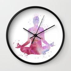Yoga - Lotus pose  Wall Clock
