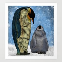 baby Art Prints featuring Emperor Penguins by Ben Geiger