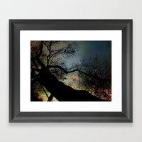 Night Fall By The Tree Framed Art Print