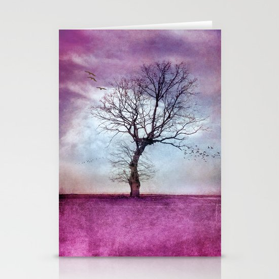 ATMOSPHERIC TREE   Pink Morning Stationery Card