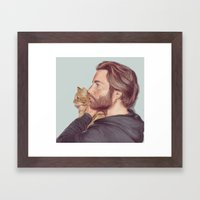 A Man and his Cat Framed Art Print