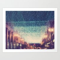 Starry Night. downtown Los Angeles at night photograph Art Print