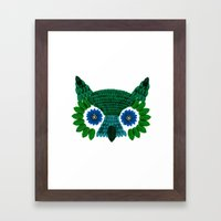 So Many Leaves = 1 Owl (Green) Framed Art Print