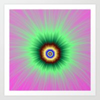 Explosion of Color in Pink and Green Art Print