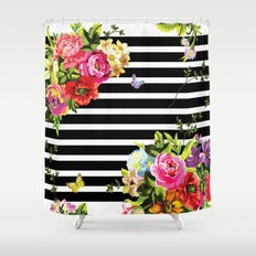 Stripes Floral Shower Curtain