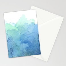 Abstract Watercolor Texture Blue Green Stationery Cards