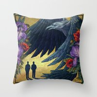 Running With Ravens Throw Pillow