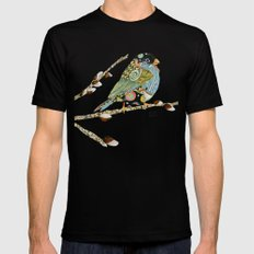 Cafe Swirly Bird 4 SMALL Mens Fitted Tee Black