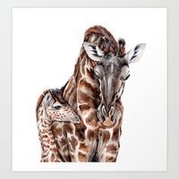 Giraffe With Baby Giraff… Art Print