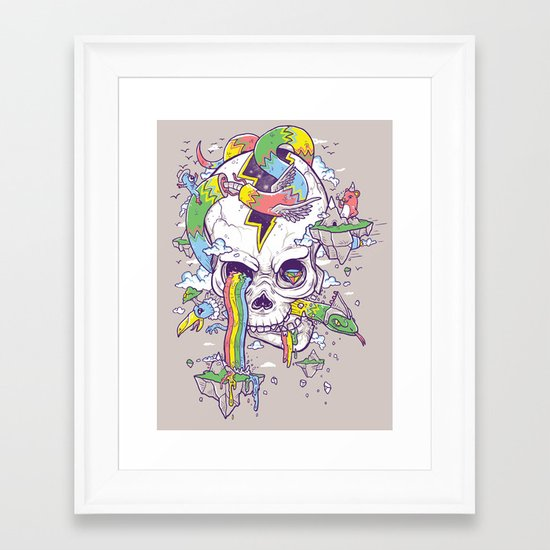 Flying Rainbow skull Island Framed Art Print