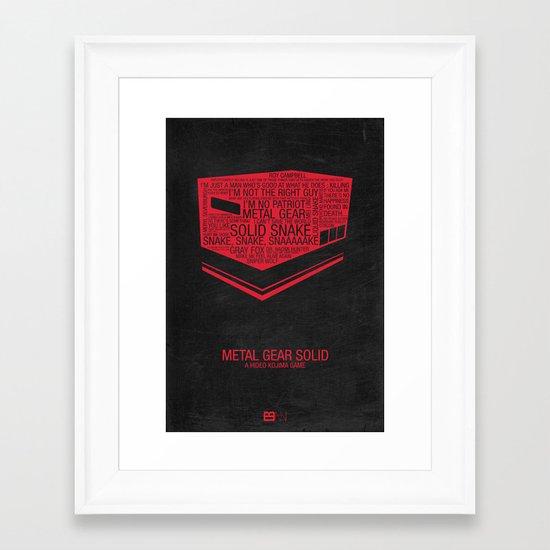 Metal Gear Solid Typography Framed Art Print
