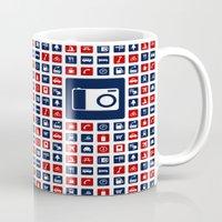 Travel Icons in RWB Mug