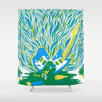Guitar Explosion Shower Curtain
