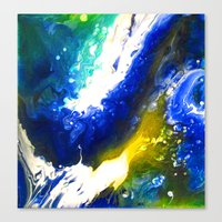 Abstract Art Drip Painting Blue, White ,Yellow Canvas Print