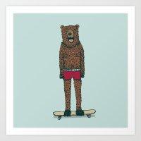 Bear + Skateboard Art Print