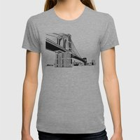 Brooklyn Bridge Black and White Womens Fitted Tee Athletic Grey SMALL