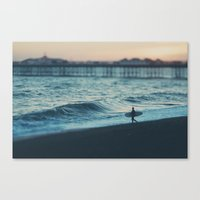 the lone surfer ... Canvas Print